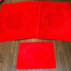 ROMANY WASHABLES GYPSY MATS 4PC SETS NON SLIP FRAME DESIGN RED QUALITY RUGS NEW